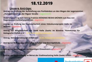Die letzte Sitzung im Stadtrat 2019 – 18.12.2019