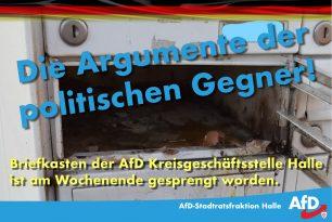 Anschlag auf Briefkasten der AfD Kreisgeschäftsstelle Halle (Saale)