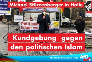 Michael Stürzenberger in Halle – Kundgebung gegen den politschen Islam