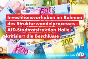 Investitionsvorhaben im Rahmen des Strukturwandelprozess – AfD-Stadtratsfraktion kritisiert Beschlüsse